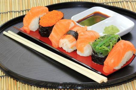 foam box: Japanese food salmon,shrimp,seaweed sushi in the tray