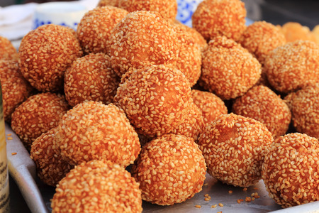 Deep Fried Sesame Ball With Green Bean Paste photo