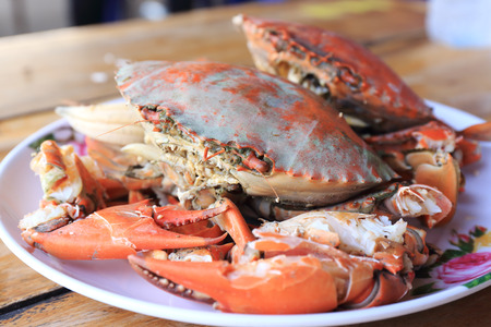 Steam Sea crab and ready to eat photo