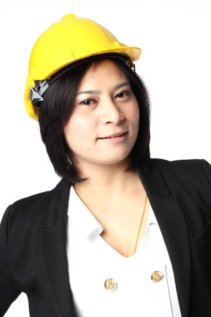 Engineer woman in yellow Hat Isolate on white background photo