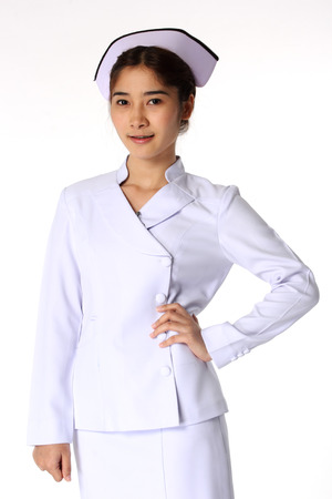 Nurse standing in nurse concept Isolate on white background photo