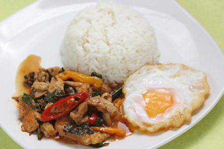 Chicken panang curry with rice and fried egg on the plate  photo