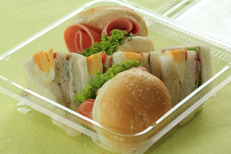 Hamburger and sandwich in box for take home photo