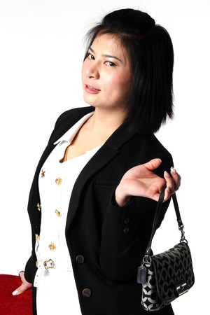 Thai Business woman portrait with reflection on studio white background   photo