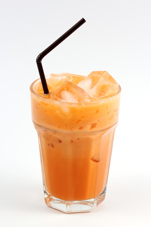 Thai Ice Tea milk isolate on white background Stock Photo