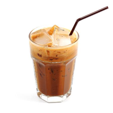 Thai style ice coffee isolate on white  Stock Photo