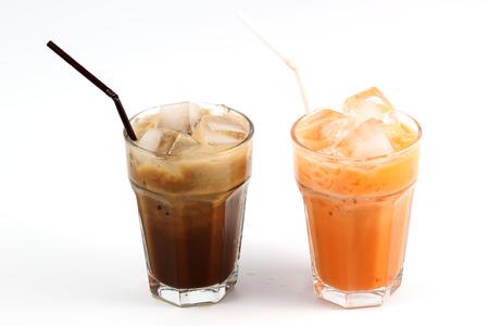 Thai Ice Tea milk and Ice Coffee isolate on white background Stock Photo