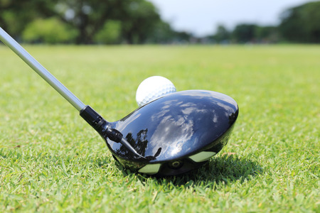t off: close up shot of golfer ready to T- off Stock Photo