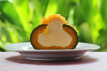 Egg Custard in the pumpkin Thai dessert photo