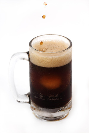 root beer in a large mug isolated on white background Stock Photo