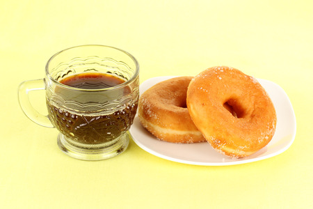 breackfast: donut and black coffee for the breackfast