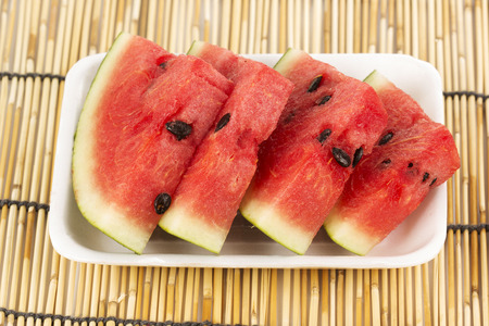 Slice of Water Melon on the plastic Tray  Stock Photo