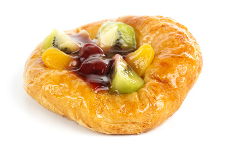 Fruit Danish pastry isolated on white a background