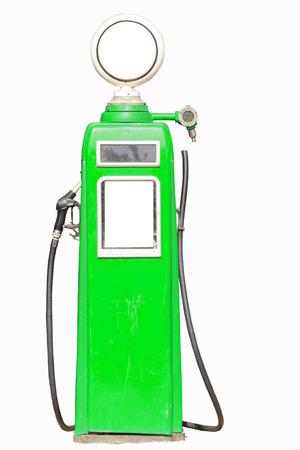 Green retro gasoline pump isolated on white background photo