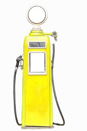 Yellow retro gasoline pump isolated on white background photo