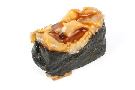 hotate: Kimchi Chuka Hotate Sushi Isolated on white background  Stock Photo