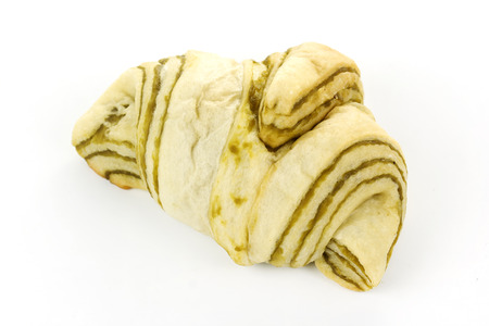 Green Tea tasty croissant isolated on white background photo