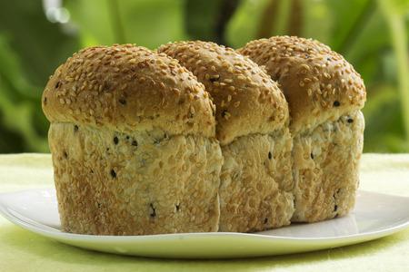 Bun of sesame bread on the plate