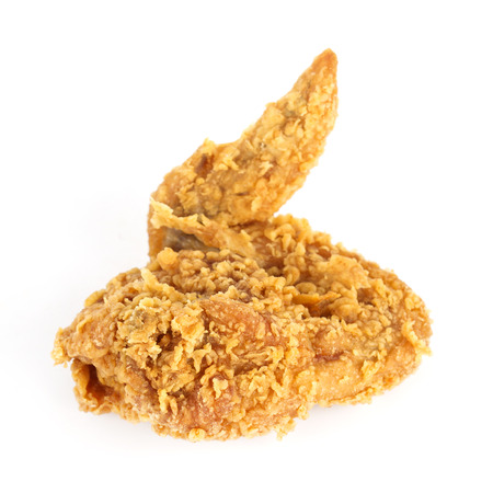 chicken fried: Fried Chicken Wing en el fondo blanco