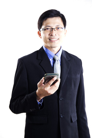 Business man with mobilephone isolated on white background photo