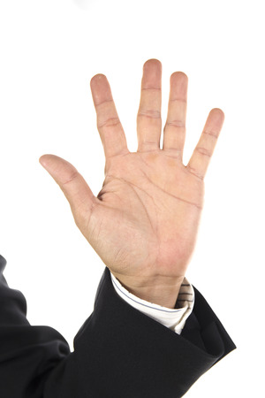 high: hand and businessman showing five fingers isolated on white