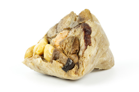 Zongzi or sticky rice dumpling Isolated on white background