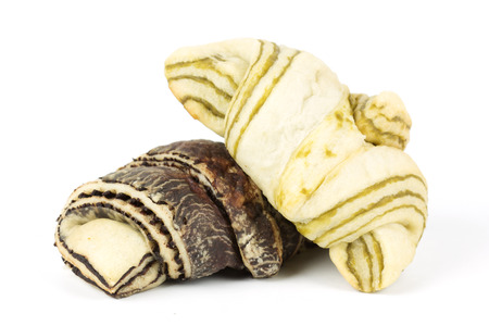 Green Tea and Zebra pattern croissant isolated on white background  photo