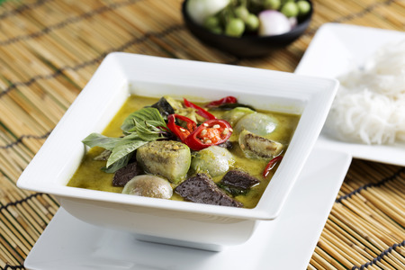Green curry Chicken soup Thai spicy food