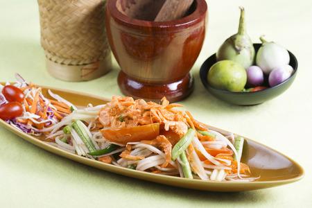 Thai Papaya salad topping wiith dry shrimp