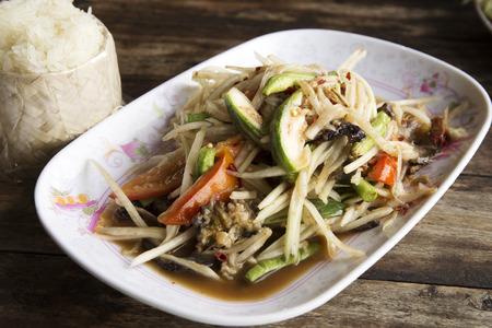 ferment: Papaya salad or Som tum with Thai style Ferment fish