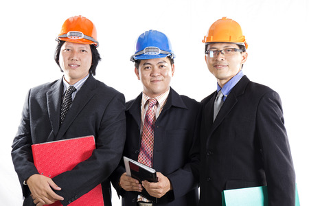 Three Engineers prepared workong Isolated On white Background photo