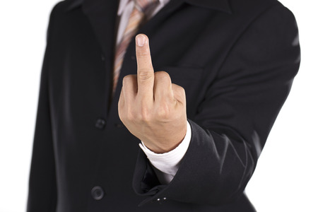 fucking: Hand of Businessman show fuck sign isolated on white background