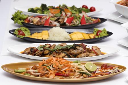 Thai Food set mixed full on the table Stock Photo