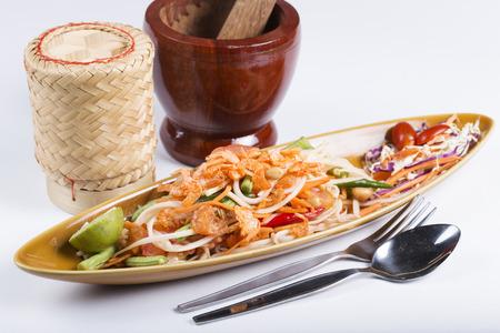 Thai Papaya salad topping with dry shrimp (Som Tum) photo