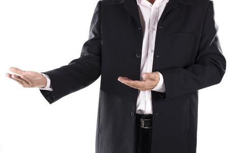 Businessman raising hand isolated on white background photo