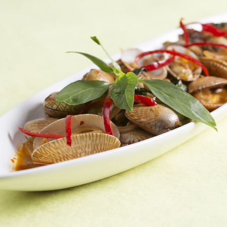 stir up: Thai spicy food Close up Stir fried clams with roasted chili paste