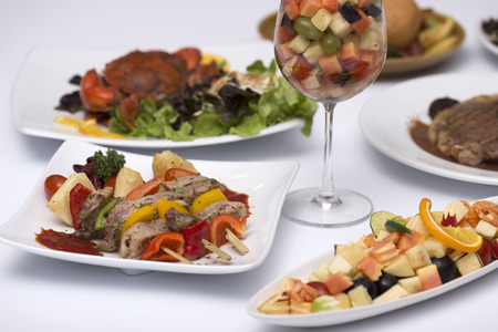 Many of International Food on the white table Stock Photo