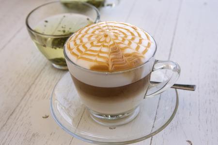 spider net: Latte Art Coffee with spider net pattern