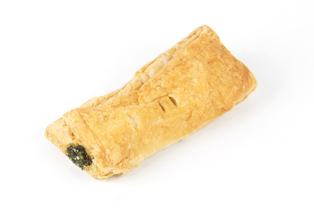 pasty: spinach pasty pie isolated on white background Stock Photo