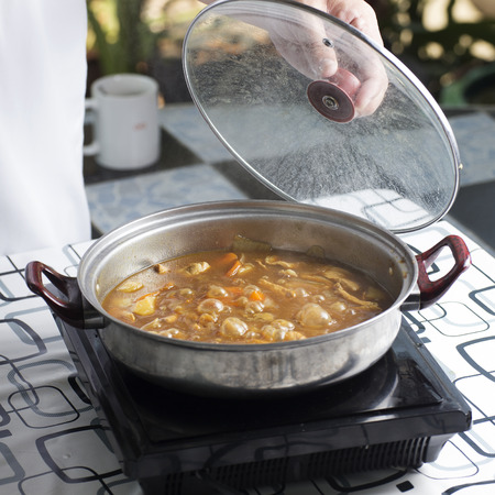Japanese pork curry in the pot   cooking Japanese pork curry paste concept