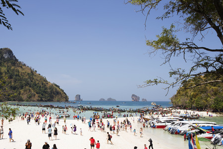separated: KRABI THAILAND  MARCH 28 2018 The traveller in Thale Waek Separated sea island famous location in KrabiThailand.