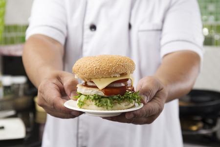 hamburger: Close up Chef presented Hamburger Cooking Hamburger concept