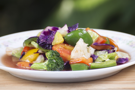 cook griddle: Stir fried mixed vegetable on the plate