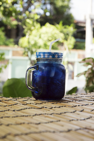 thai herb: Asian pigeonwings Butterfly Pea juice  refresh Thai herb cold drink Stock Photo