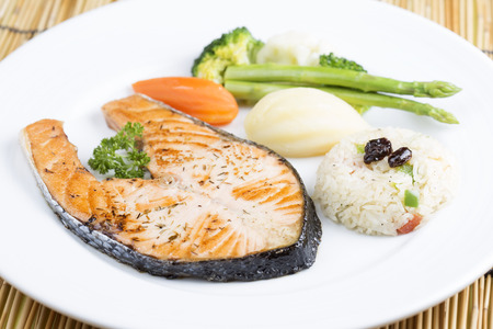 steak: Grilled Salmon steak with Vegetables and Fried Rice