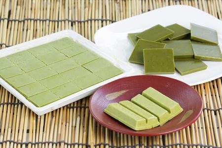 green powder: Group of Product Chocolate green tea matcha Stock Photo
