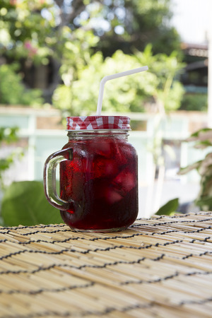 refreshment: Iced roselle juice  Thai drink for refreshment