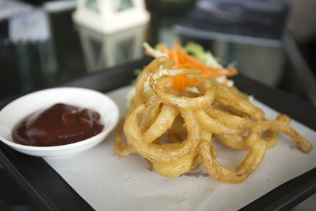 food       plate: plate of deep fried onion rings with catchup  selective focus