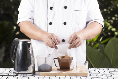 Chef present Ingredient Fresh coffee and Filter cup