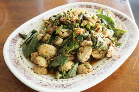 lemon: Spicy mushroom salad in Thai style food Stock Photo